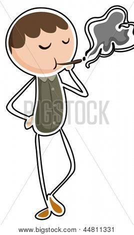 Illustration of a man smoking on a white background