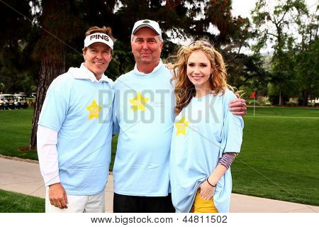 LOS ANGELES - APR 15:  Jack Wagner, Dennis Wagner, Ashley Jones at the Jack Wagner Celebrity Golf Tournament  at the Lakeside Golf Club on April 15, 2013 in Toluca Lake, CA
