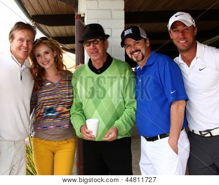 LOS ANGELES - APR 15:  Jack Wagner, Ashley Jones, tim Allen, Troy Burgess, Kyle Lowder at the Jack Wagner Celebrity Golf Tournament  at the Lakeside Golf Club on April 15, 2013 in Toluca Lake, CA
