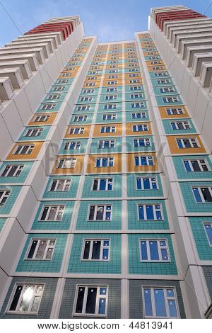 Facade of a new many storeyed apartment house