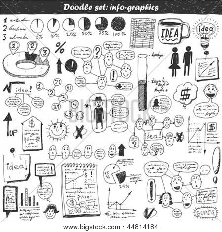 Doodle vector set - business info graphics