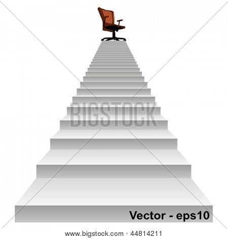 Vector eps concept conceptual 3d stair climbing to a leader,chief or promotion chair on top isolated white background,metaphor to career,business,success,achievement,winner,goal,step or victory