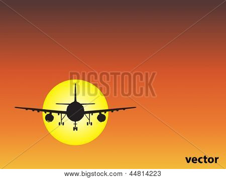 Vector concept or conceptual black plane,airplane aircraft silhouette flying over sky at sunset,sunrise background,metaphor to air,travel,transportation,jet,flight,transport,business,vacation,tourism