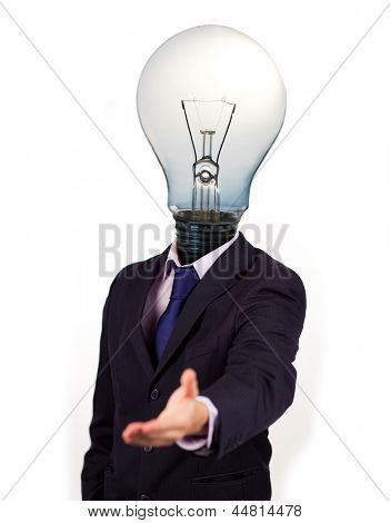 Businessman with a light bulb head holding his hand out