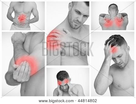 Pictures representing man having pain at several part of body
