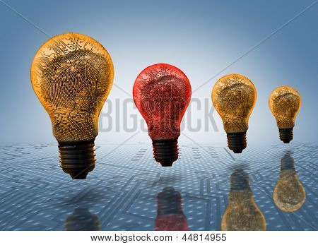 Orange and red light bulbs in row with digital circuit board inside