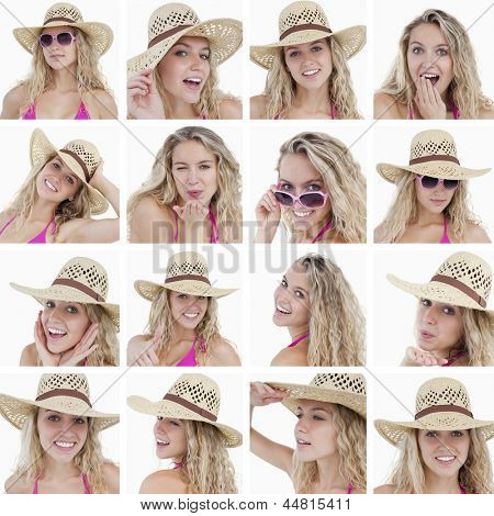 Collage of woman with straw hat and sunglasses on white background