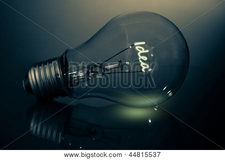 Light bulb with filament spelling out idea