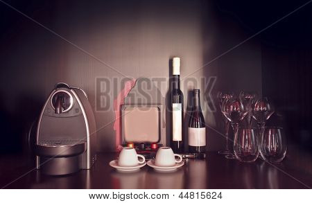 hotel sideboard with coffee and wine