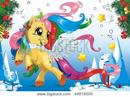 Little horse with Coloring tail and mane, Symbol of new 2014 year. Clipart vector illustration.