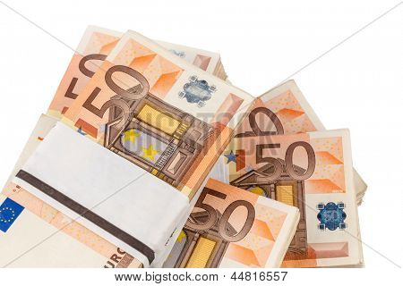 stack of many fifty euro bills. symbolic photo for money, wealth, income and expenditure