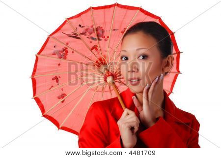 Woman With Red Parasol