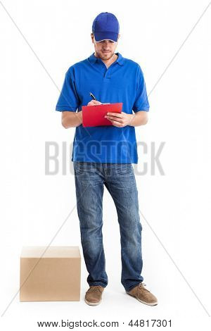 Deliverer compiling a delivery note