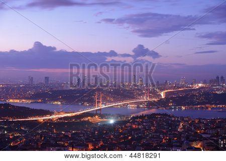 Istanbul Turkey Bosporus Bridge on sunset