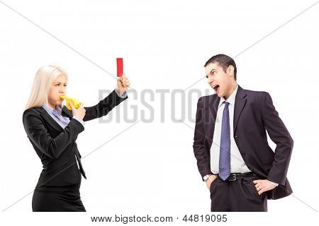 Woman in business suit showing a red card to an angry man in a business suit, isolated on white background
