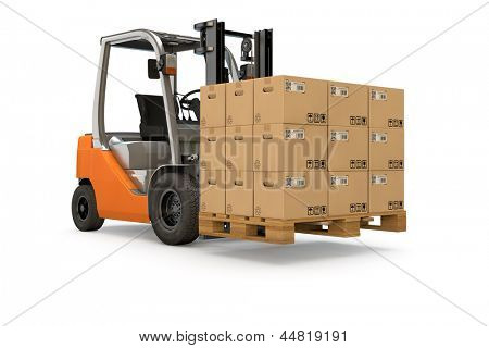 Forklift lifting a pallet of many packages