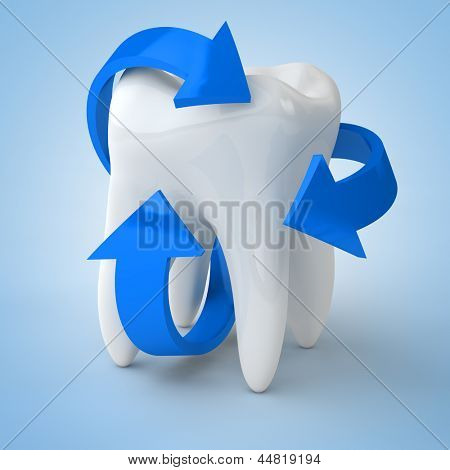 Dental care with blue arrows surrounding a tooth