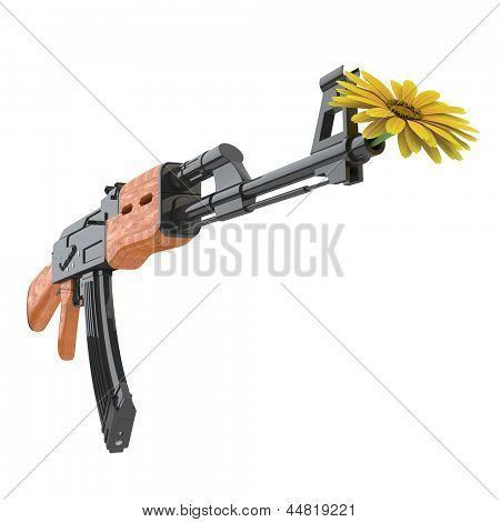 A yellow flower in a machine gun as a symbol for pacifism