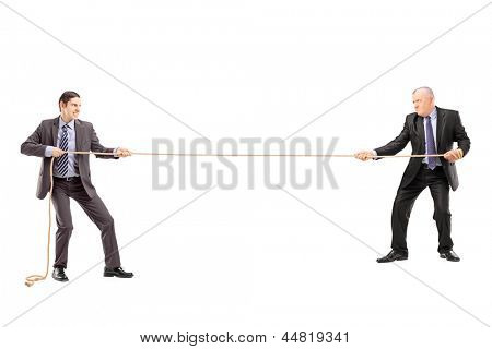 Full length portrait of two businessmen pulling a rope isolated on white background