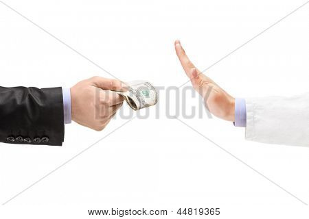 Man giving bribe to a doctor refusing the money, isolated on white background