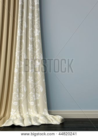 Blue Wall With Curtains