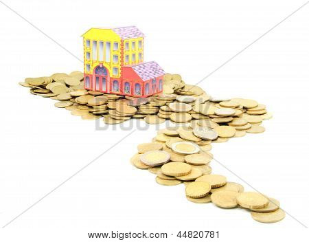Coin Money Road To The House Isolated On White Background - Bank