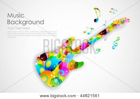 illustration of colorful guitar playing musical tune