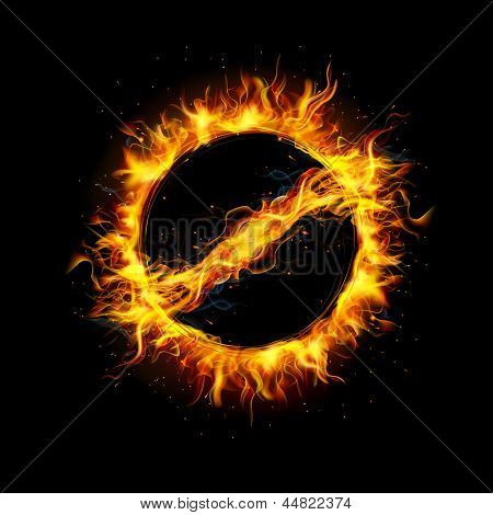 illustration of prohibited sign made of fire flame