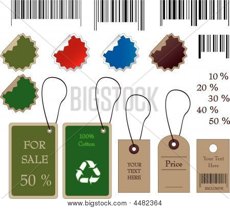 Barcodes, Stickers, Tally And Labels In Vector