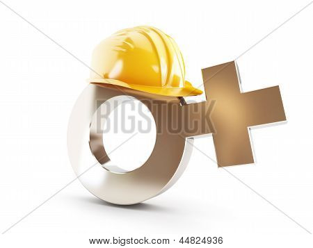 Work For Women , Symbol Women Construction Helmet On A White Background