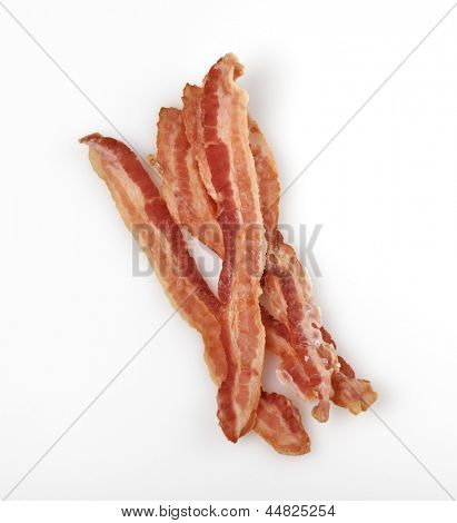 Strips Of Fried Bacon On White Background