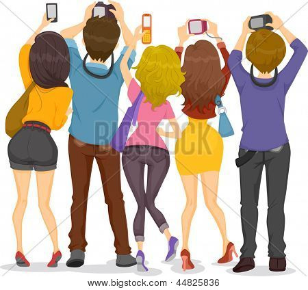 Illustration showing Back View of Teenagers Taking Pictures with their Cameras