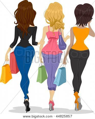 Illustration showing the Back View of Girl Shoppers