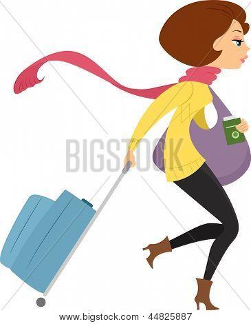 Ilustración que muestra la vista lateral de una chica que viaja en invierno