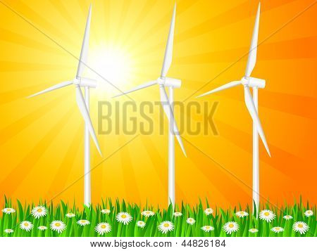 Grassy Field And Wind Generators