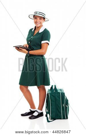 female young high school student using tablet computer isolated on white