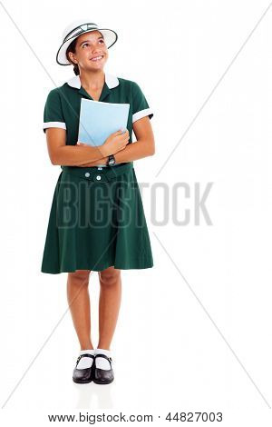 happy female high school student looking up isolated on white background
