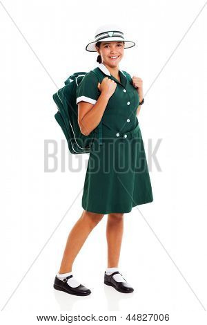 cheerful teenage school girl with  backpack isolated on white background