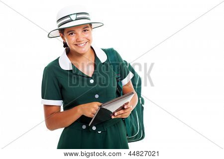 portrait of smiling teen schoolgirl with tablet computer isolated on white