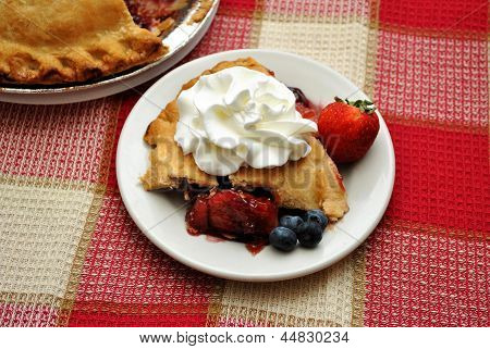 Fresh Berry Pie with Whipped Cream