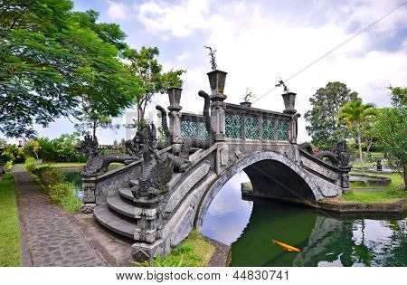 Bridge over lake at Tirtagangga Water Palace