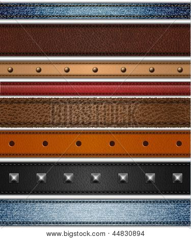Set of realistic leather, shammy and jeans stripes - raster version