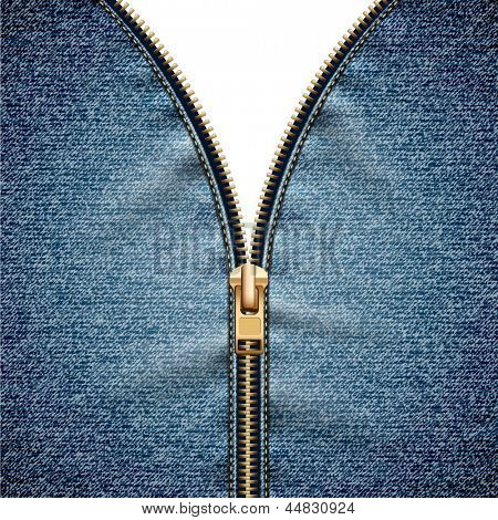 Denim texture with open zipper - raster version