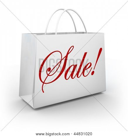 The word Sale in red cursive script lettering on a white paper shopping bag for a store holding a discount or special clearance event