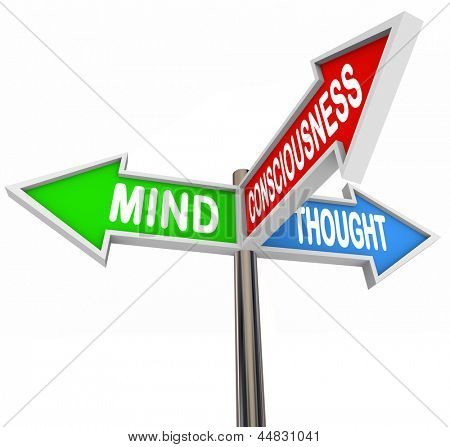 The Three Principles of Mental Health and Wellness represented on colorful arrow road signs -- Mind Consciousness and Thought