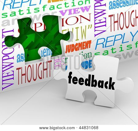 The word Feedback on a puzzle piece filling a hole in a wall with words like opinion, satisfaction, reply and response to symbolize customer input