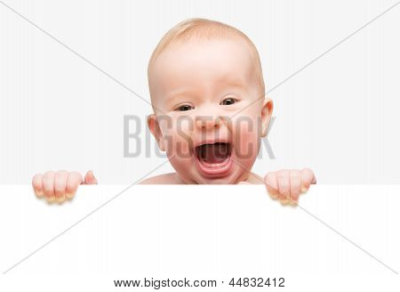 Funny Cute Baby With White Blank Banner Isolated