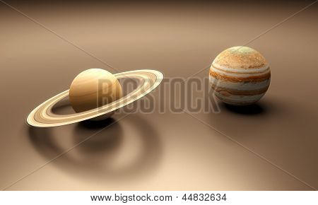 Planets Saturn And Jupiter Blank