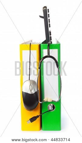 Computer Keyboard, Mouse And Stethoscope With Ring Binder