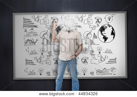 Man with lit up bulb for a head pointing up against whiteboard wall